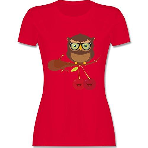 Shirtracer Eulen, Füchse & Co. - Süße Eule Hipster - Damen T-Shirt Rundhals Rot