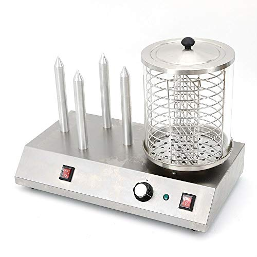 dog Maschine zum Erhitzen von Würsten und aufwärmen von Hot Dog Brötchen, Profi Hot Dog Maker mit 4 Heizspießen und 185 mm Korb ()