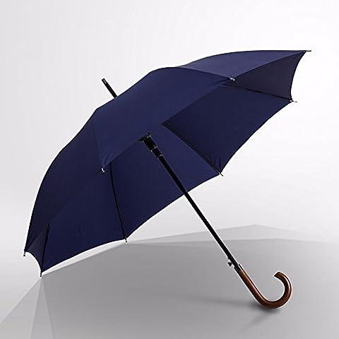 ZJM Double super Typhoon-resistant wood handle semi-automatic umbrella simple business, men straight bar explosion-proof umbrella,Blue
