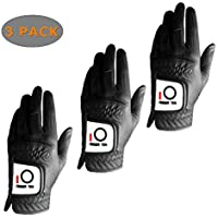 Golf Gloves Men Left Hand For Right Handed Golfer Rain Grip Value 3 Pack(NOT IN PAIR), Black White All Weather Glove Weathersof Durable, Fit Size Small Medium Large XL