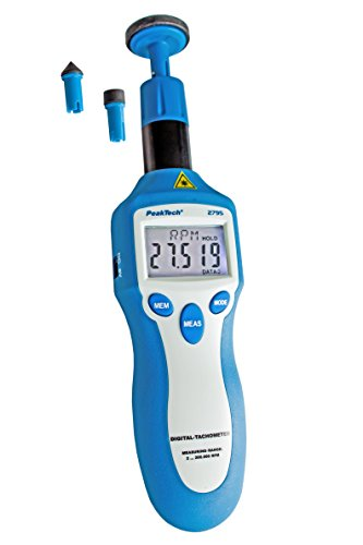 PeakTech Digital-Drehzahlmesser/Tachometer - 5-stellige Anzeige - 1 … 199999 UpM - mit Kontaktloser- und Kontaktmessung über Messrad, 1 Stück, P 2795