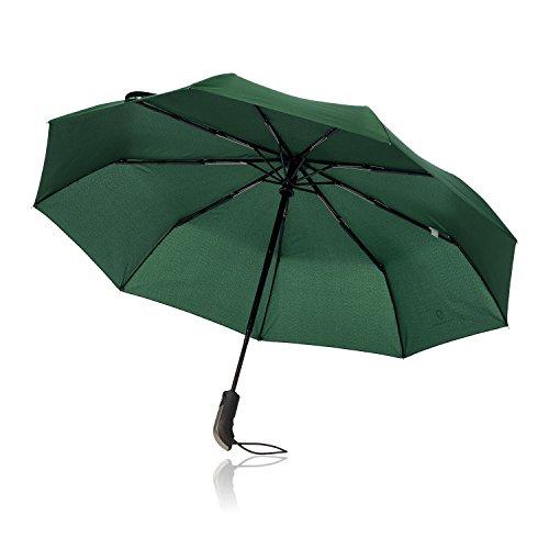 Regenschirm Taschenschirm - VON HEESEN - sturmfest bis 140 km/h - inkl. Schirm-Tasche & Reise-Etui - Auf-Zu-Automatik, klein, leicht & kompakt, Teflon-Beschichtung, windsicher, stabil (Grün)