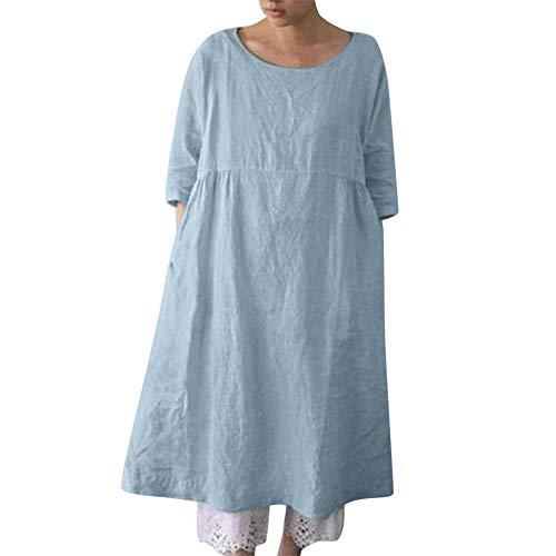 Frauen-Hülsen-beiläufiges langes Hemd-Kleid normales Loses übergroßes Blusen-Oberseiten Plus Size Swing T Shirt Kleid -