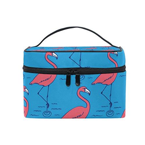 ALAZA Sac cosmétique Tropical Flamingo Bleu Maquillage Voyage cas de stockage Organisateur