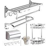 HKJhk Porte-serviettes en aluminium Space Accessoires de quincaillerie pour salle de bains (Couleur : Silver)