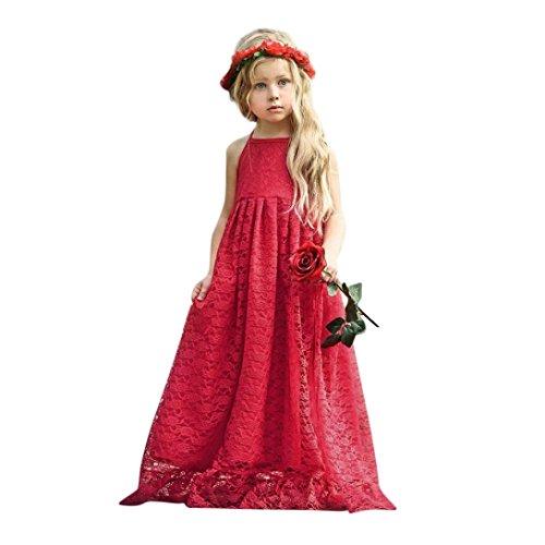 ädchen Kleider Lange Brautjungfern Kinder Kleider Hochzeit Party Prinzessin Blumenmädchen Kleid Rückenfrei Party Formelle Kleidung ()