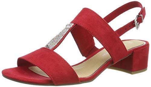 MARCO TOZZI 2-2-28202-22, Sandali con Cinturino alla Caviglia Donna, Rosso (Red 500), 36 EU