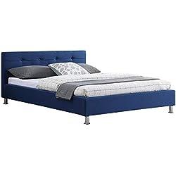 IDIMEX Lit Double pour Adulte Nizza Couchage 140 x 190 cm 2 Places / 2 Personnes, avec sommier et Pieds en métal chromé, revêtement en Tissu capitonné Bleu
