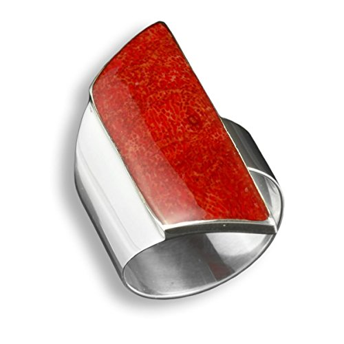 ISLAND PIERCINGS Edler 925er Silber und Rote Koralle Ring Silberring Design Handarbeit SR222 - Kleine Rote Koralle