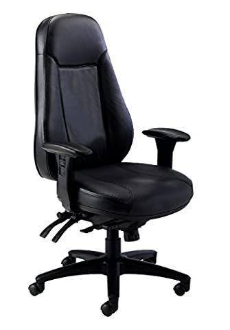 Office Hippo 24 Hour High Back Office Chair with Arms, Leather - Black