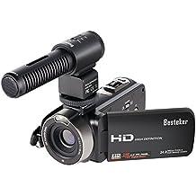 Videocámaras, Besteker Videocámara ligera portátil 16X Zoom digital Cámara de vídeo FHD 1080P 24.0MP Pantalla giratoria de 3.0 pulgadas TFT LCD con micrófono externo y control remoto