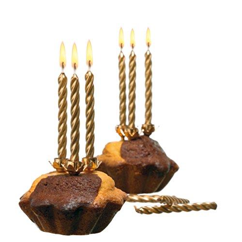 Susy Card 11142874 Kerzen mit Halter, 10-er Set, gold