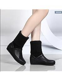 KHSKX-El Otoño Y El Invierno Las Mujeres Botas Zapatos Botas De Invierno Con Una Base Plana Para Cultivar Algodón...