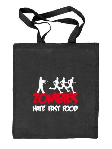 Shirtstreet24, ZOMBIES HATE FAST FOOD, Halloween Zombie Stoffbeutel Jute Tasche (ONE SIZE), Größe: onesize,schwarz natur (Food Halloween-fun)