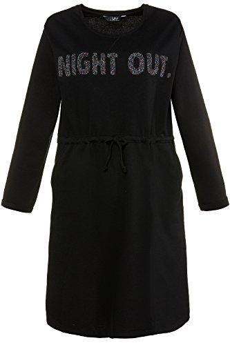Ulla Popken Femme Grandes tailles | Robe en coton imprimé à manches longues ceinture resserrable et col rond | 713540 Noir