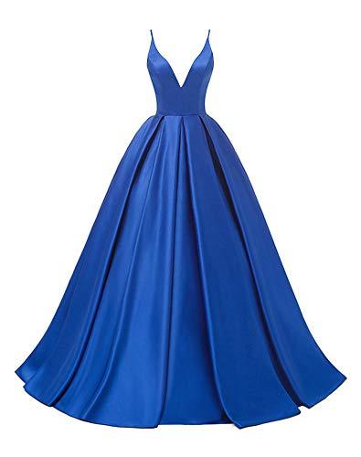 Rosae Satin Abendkleid Lange V-Ausschnitt Satin Hochzeitskleid Mädchen Prom Kleider DE 36...