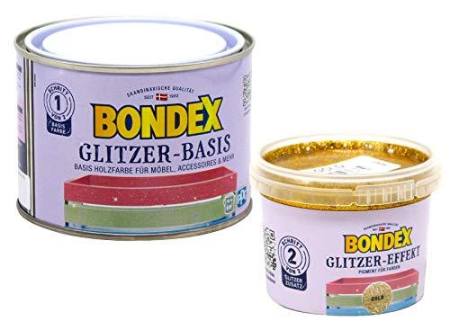 Bondex Glitzerfarbe Glitter-Wandfarbe zum Streichen 0,6L, Holz-Möbelfarbe mit Glitzer-Effekt zur kreativen Gestaltung Innen (gold, koralle)
