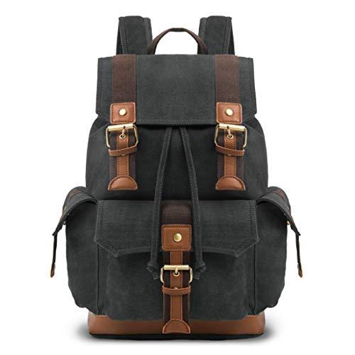 Vintage Rucksack Canvas Schulrucksack Retro Backpack Lederrucksack Wanderrucksack Reisetasche Laptoprucksack für Herren Damen Jungen Mädchen (Schwarz)