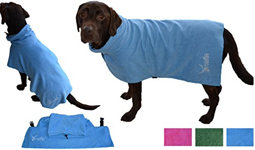 Mikrofaser Hunde Bademantel von Premium Qualität von Arcadian. Diese luxuriösen Bademäntel sind leicht, schnell trocknend und super saugfähig. Einfach zu verwenden, komfortabel und mit verstellbaren Trägern. Fantastisch, wenn zusammen mit einem Mikrofaser Hundehandtuch von Arcadian verwendet. 100% Zufriedenheitsgarantie! - 4