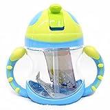 little sporter Trinkflasche Tassen Baby Flasche Stroh Tasse Wasserflasche Griff Tragbar Training Trinkbecher mit Flip Stroh Top und Non Slip griffen einfach zu bedienen für Baby Blau