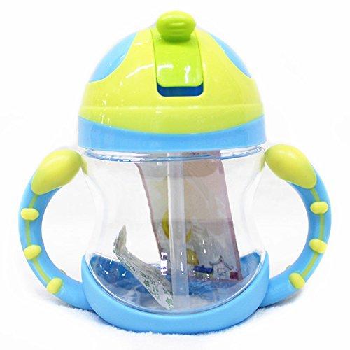 little sporter Trinkflasche Tassen Baby Flasche Stroh Tasse Wasserflasche Griff Tragbar Training Trinkbecher mit Flip Stroh Top und Non Slip griffen einfach zu bedienen für Baby Blau (Sport Stroh Flasche)
