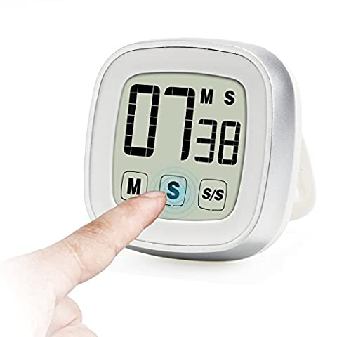 Innotree Touch Screen Digital Kitchen Timer / Stopwatch, Novelty Large Display Loud Alarm Magnetic Back & Stand Countdown and up Cool Electric Timer, Great for Cooking, Baking, Games, Sports and Office