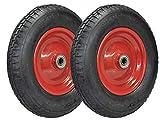 Lot de 2 roues pour brouette avec roue complète 4.80/4.00-8 pneumatiques sur jante en acier