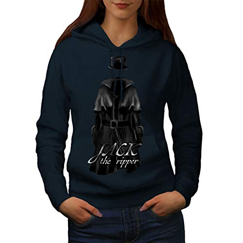 The Damen Ripper Kostüm Jack - wellcoda Jack Ripper Killer Frau Kapuzenpullover Tod Beiläufiges mit Kapuze Sweatshirt