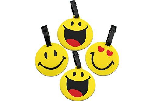 Finex-Set von 4-Silikon Reise Gepäck Tags Koffer Bag Tag mit verstellbarem Riemen (Sortiert) Yellow (Emoji) Einheitsgröße