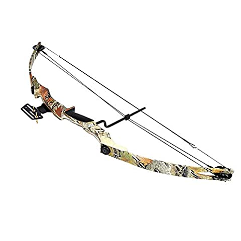 Compound Bow with Pulley and 55 LBS of potency, camo color, for the right-handed, it has a 2 pins viewfinder