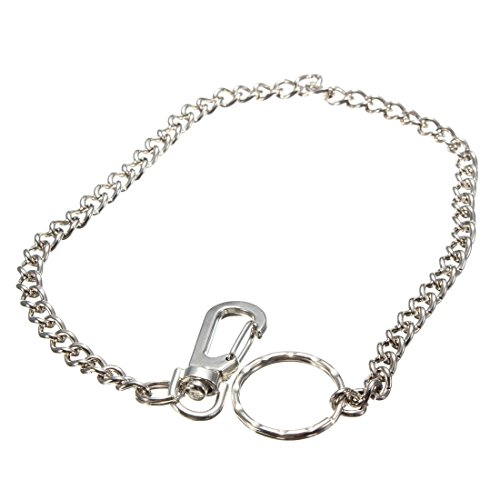 38cm Long Hipster Strong Metal Curb link chain Ring Keyring Keychain Key Chain Silver Key Wallet Belt Ring Clip Key Fob Keyfob by Generic