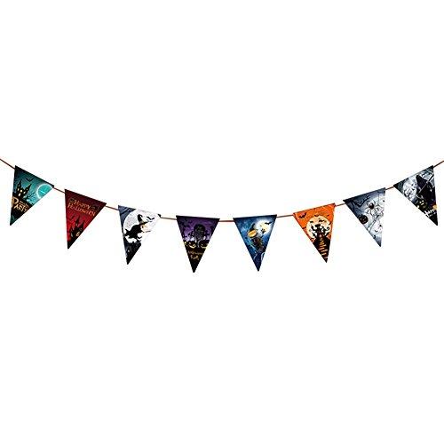 Jingyuu Halloween-Banner, Dreieck, Drapeauen, Papier, Mehrfarbig, Dekoration für Partys, Halloween, Wimpelkette