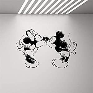 Wandtattoo Kinderzimmer Mickey Mouse Wandaufkleber Aufkleber Mickey Mouse Minnie Mouse Kissing Wandtattoo Kinder Schlafzimmer Kinderzimmer Hochzeit Cartoon Dekor