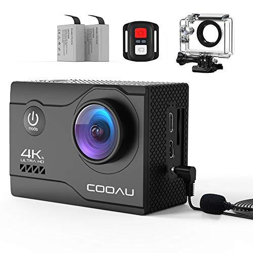 COOAU 4K Action Cam 20MP WiFi Sports Kamera Unterwasserkamera 40m mit Externs Mikrofon Fernbedienung Helmkamera Wasserdicht Digitale Videokamera mit EIS Stabilisierung Zeitraffer 2x1200mAh Akkus