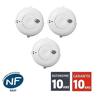 siemens - LOT DE 3 Détecteurs de fumée NF Autonomie et Garantie 10 ans SIDOREX SA7L
