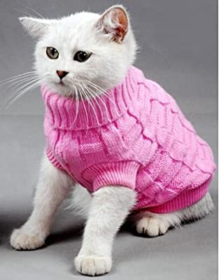 Doggie Style Store Pink Plain Polo Poloneck Cat Pet Kitten Knitted Jumper Knitwear Warm Winter Sweater by Doggie Style Store