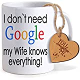 TIED RIBBONS Valentine Day Gift for Wife - Valentines Special Coffee Mug (325ml) with Heart Shaped Wooden Engraved Tag