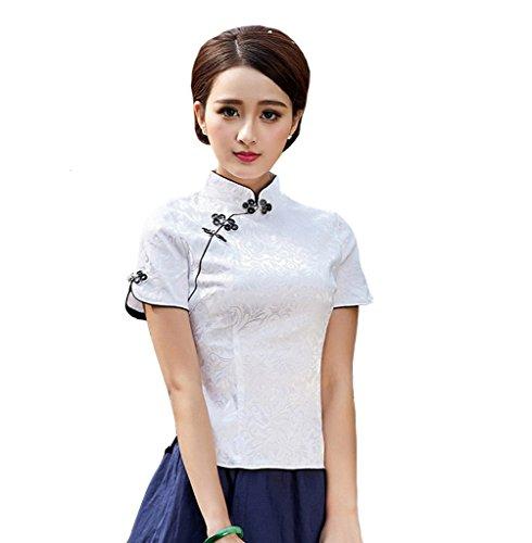 YueLian Floreale Camicia Cotone Donna a Maniche Corte con Bordo Nero Bianco