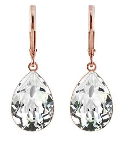 petra kupfer Damen Ohrringe Ohrhänger Tropfen Anhänger 1 Swarovski®-Kristall Transparent Crystal Rose Gold Vergoldet rdh1-rg-crystal (Ohrringe Transparente)