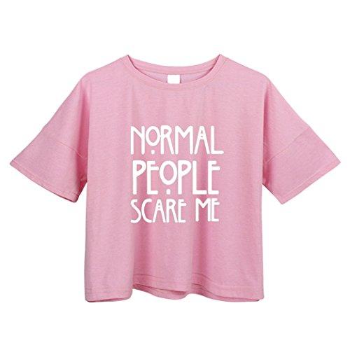 Yeesea Damen Sommer Baumwolle Kurzarm Crop Top Crop Bluse T Shirt Rosa
