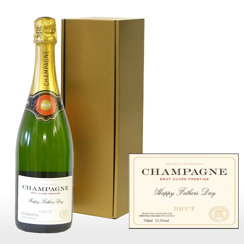 Fine Food Store Personalised Premium Fine Champagne in Gold Gift Box with 'Happy Fathers Day' on the Label NV 75 cl