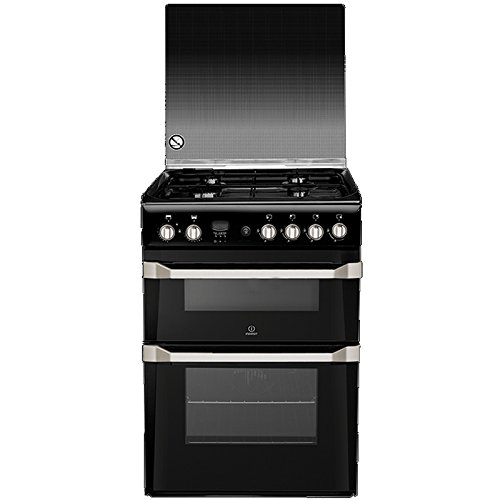 Indesit ID60G2K 60cm Double Oven Gas Cooker Black Best Price and Cheapest