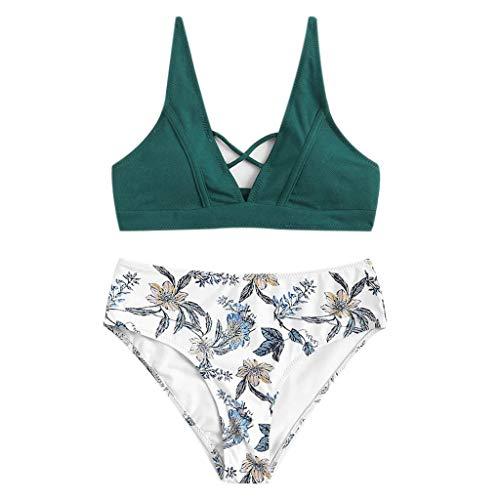 hmtitt Damen Bikini Set, Sommer Sexy Damen Mädchen Badeanzug Gepolsterte Sexy Strand Blumendruck Zwei Stücke Badeanzüge Bodycon Bademode Badeanzug