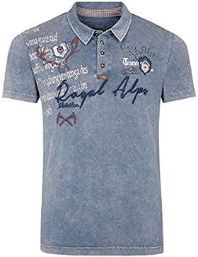 Hangowear Herren Herren Trachten Polo-Shirt Blau, Blau,