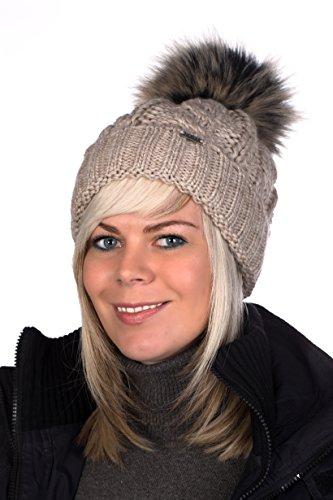 Beanie PB Mütze, Pudelmütze, Wintermütze mit großer Fellbommel aus Fellimitat, Strickmütze mit hochwertigen Strick