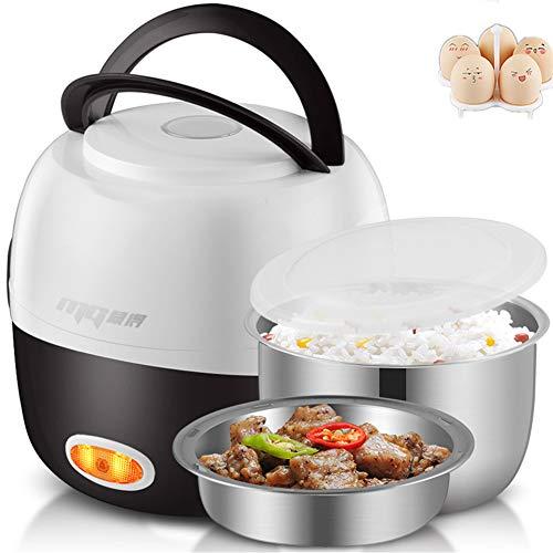 Mr. Fragile Elektrische Lunchbox, tragbarer Lebensmittel-Durchlauferhitzer, Mini-Reis-Dampfer-Kocher, mit 2 herausnehmbaren Edelstahlbehältern,Lebensmittelqualitätsmaterial