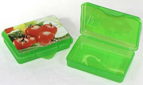 2X Confezione da  pezzi Rosso hoset Funbox Mini 0,1LTR.Olive Box feta Box, ca.10X 7X 2,5cm Verde Pomodoro