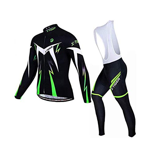 X-TIGER Herren Radsport Langarm Set Radtrikot mit 5D Gel Gepolsterte Trägerhose Herbst Winter Thermovlies Radsportbekleidung Anzüge (Green Winter Thermal Fleece Bib Set, Size XL=EU L)