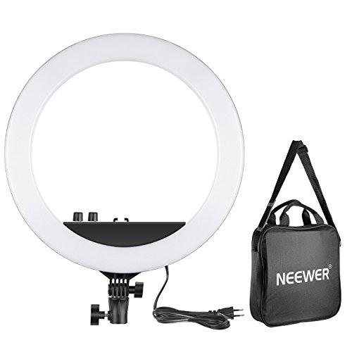 Neewer 14-pouce/34,5cm LED Anneau de Lumière 30W Bi-Couleur 3200k-5600K Petit Anneau Lumière pour Maquillage Photo Portrait Photographie Vidéo (EU)
