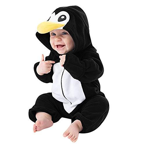Grenouillère Bébé Garçon Hiver DAY8 Pyjama Garçon Automne Combinaison Bébé Garçon 0-24 Mois Vêtements Bébé Fille Naissance Body Unisexe Bébé Barboteuse Manteau Costume Cartoon (60(0-3 Mois), Noir)